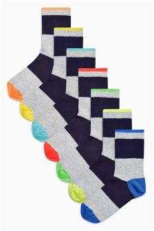 Fluro Rugby Stripe Socks Seven Pack (Older Boys)