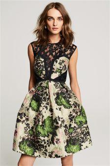 Floral Stone Jacquard Prom Dress