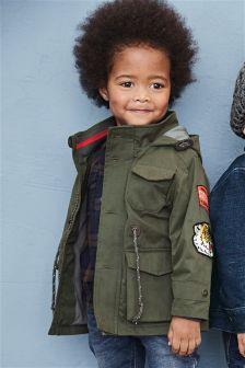 Khaki Badge Jacket (3mths-6yrs)