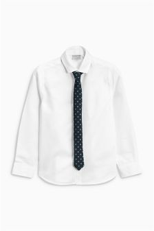 White Long Sleeve Shirt And Tie (12mths-16yrs)