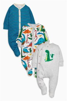 Bright Dino Sleepsuits Three Pack (0mths-2yrs)