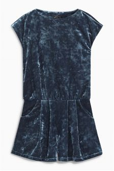 Teal Velvet Playsuit (3-16yrs)