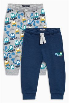Navy/Grey Digger Print Joggers Two Pack (3mths-6yrs)