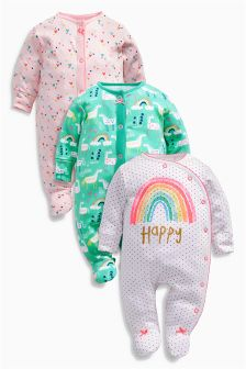 Teal/Pink Unicorn Sleepsuits Three Pack (0mths-2yrs)