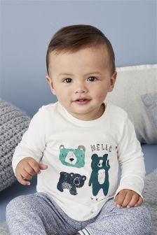 White/Blue Bear Two Piece Jersey Set (0mths-2yrs)