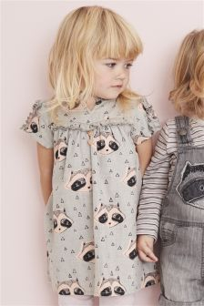 Grey Raccoon Print Dress (3mths-6yrs)