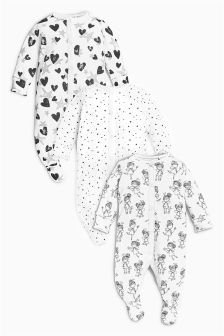 Monochrome Fairy Sleepsuits Three Pack (0mths-2yrs)