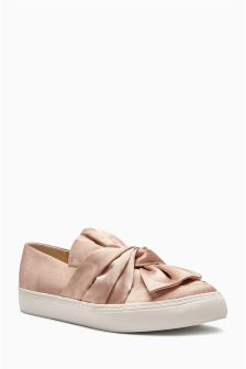 Nude Satin Bow Skaters