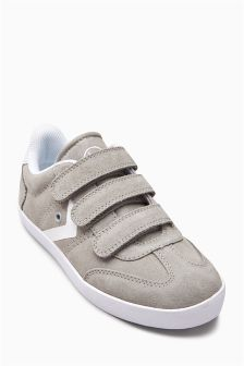 Grey Suede Triple Strap Fashion Trainers (Older Boys)