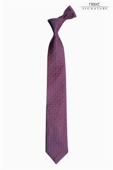 Burgundy Signature Made In England Silk Tie