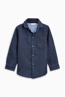 Indigo Double Cloth Long Sleeve Shirt (3-16yrs)