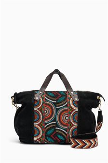 Black Leather Beaded Bag