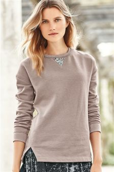 Blush Embellished Elbow Sweatshirt
