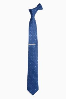 Blue Spotted Tie And Tie Clip