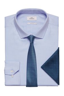 Blue Slim Fit Shirt With Tie And Pocket Square Set