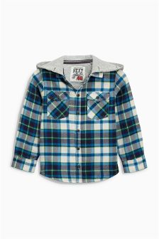 Blue Hooded Check Shacket (3mths-6yrs)