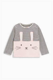 Pink/Grey 3D Rabbit T-Shirt (3mths-6yrs)