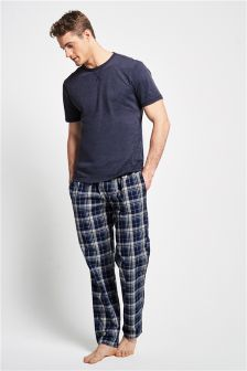 Navy Check Woven Long Set