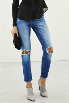 Mid Blue Relaxed Rip Knee Jeans
