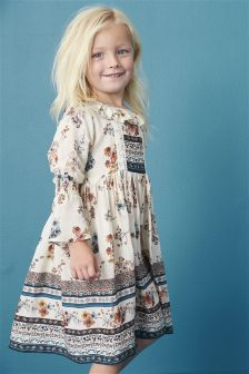 Ecru Floral Flute Sleeve Maxi Dress (3mths-6yrs)