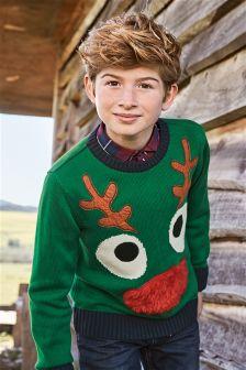 Green Christmas Reindeer Jumper (3-16yrs)