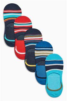 Multi Colour Invisible Trainer Odd Stripe Socks Five Pack