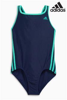 adidas Navy 3 Stripe Swimsuit