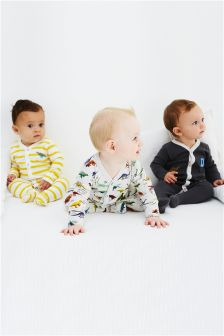 Grey Dino Sleepsuits Three Pack (0mths-2yrs)