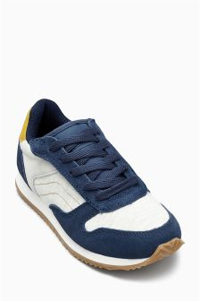 Ecru/Navy Fashion Retro Trainers (Older Boys)