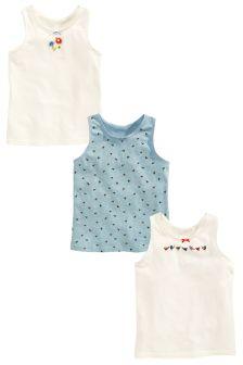 Blue/Ecru Bird Vests Three Pack (1.5-12yrs)