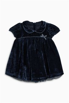 Navy Velvet Dress (0mths-2yrs)