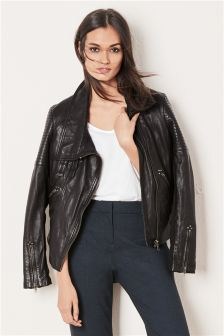 Black Funnel Neck Leather Jacket
