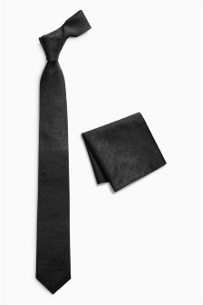 Black Occasionwear Floral Silk Tie And Pocket Square