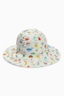 Ecru Printed Reversible Sun Hat (Younger Girls)