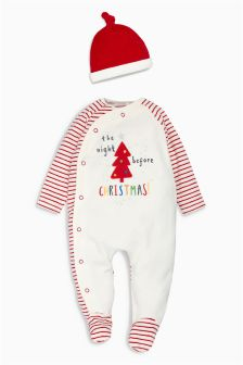 Ecru Velour Christmas Sleepsuit And Hat (0-18mths)