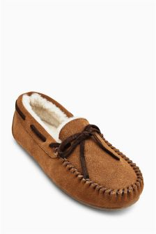 Tan Shearling Slippers (Older Boys)