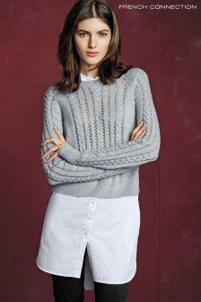 French Connection Grey Crochet Cable Knit