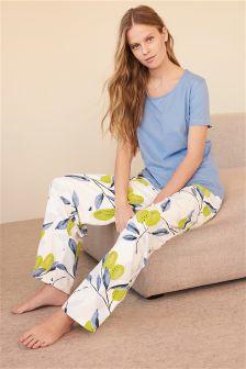 Blue/Yellow Lemon Print Jersey Pyjamas