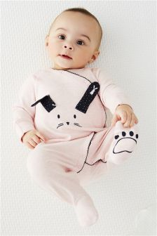 Pink/Navy Bunny Wrap Sleepsuits Two Pack (0mths-2yrs)