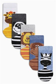 Multi Animal Socks Five Pack (Younger Boys)