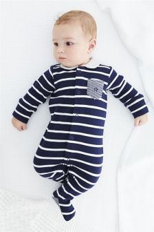 Navy Stripe Sleepsuits Three Pack (0mths-2yrs)