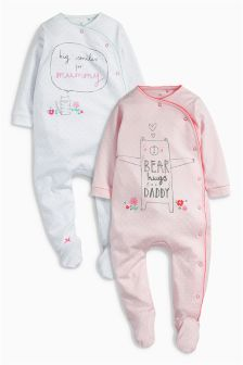 Pink Mummy And Daddy Sleepsuits Two Pack (0mths-2yrs)