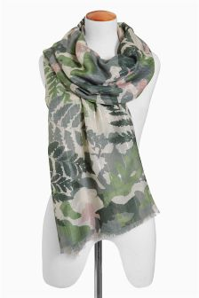 Green Floral Camouflage Scarf
