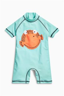 Blue Puffer Fish Embroidered Sunsafe Suit (3mths-6yrs)