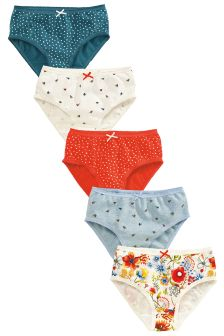 Blue/Ecru Floral Briefs Five Pack (1.5-12yrs)