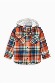 Orange Check Hooded Shacket (3mths-6yrs)