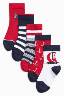 Red Boat Socks Five Pack (Younger Boys)
