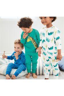 Blue/Green Safari Snuggle Fit Pyjamas Three Pack (9mths-8yrs)
