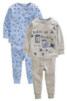 Blue Marl Bug Pyjamas Two Pack (9mths-8yrs)
