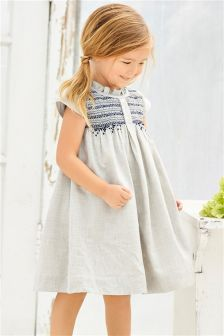 Oatmeal Shirred Dress (3mths-6yrs)